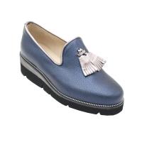 Angela Calzature Numeri Speciali scarpe donna mocassini in pelle colore blu tacco basso 1-4 cm   nr 33,41,42 numeri speciali