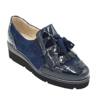 Angela Calzature Numeri Speciali scarpe donna inglesine in pelle colore blu tacco basso 1-4 cm   nr 33 numeri speciali
